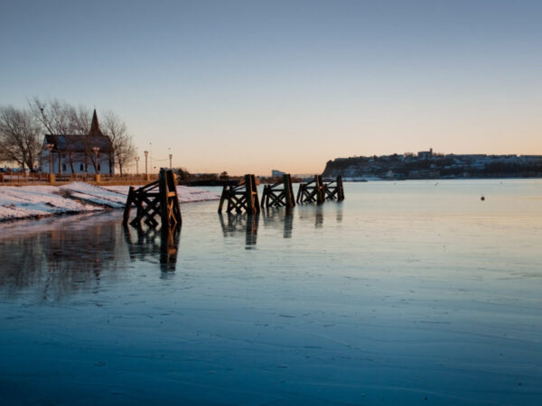 Frozen waters at Cardiff Bay