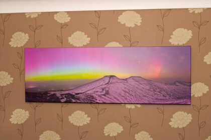 Example print of the aurora borealis over Pen y Fan in the Brecon Beacons