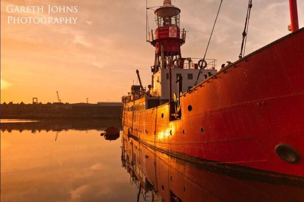 Cardiff Bay lightship at sunrise