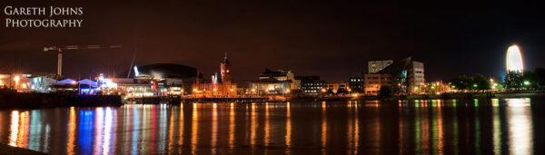 Cardiff Bay panoramic at night