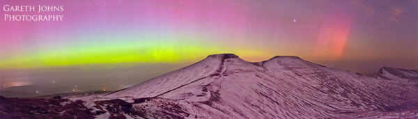 Corn Du, Pen y Fan and Cribyn with the Aurora Borealis Northern Lights