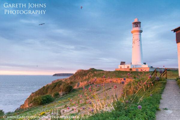 Flat Holm Island lighthouse at Sunrise