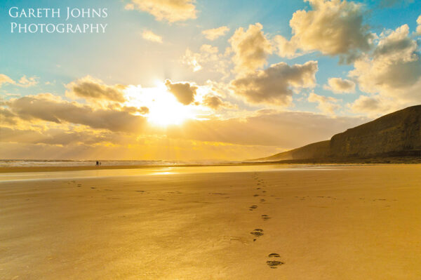 Golden footprints at Southerndown beach