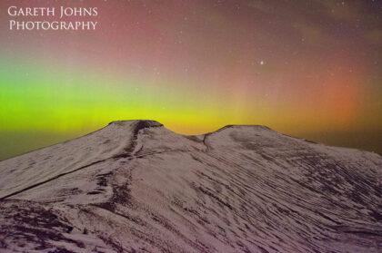 Pen y Fan and Corn Du with the aurora borealis