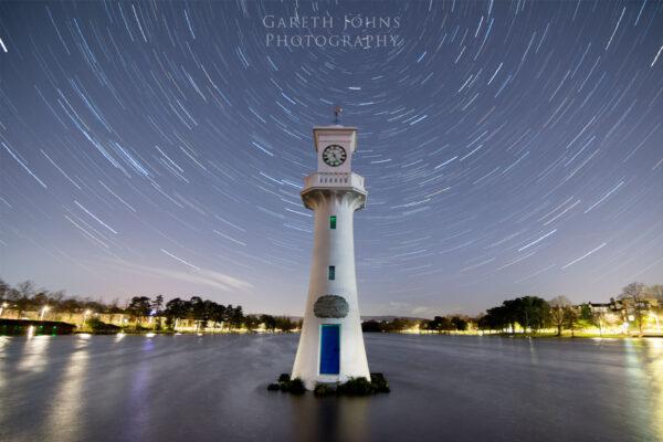 Roath Park lighthouse star trail