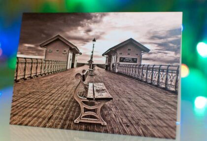 Black and white Greeting cards of Penarth Pier